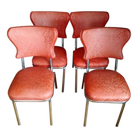 set of four chrome and vinyl dining chairs at 1stdibs retro 1950s vinyl chrome dining chairs set of 4 chairish