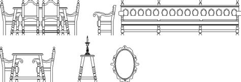 colonial style furnitures  dwg block  autocad designs cad