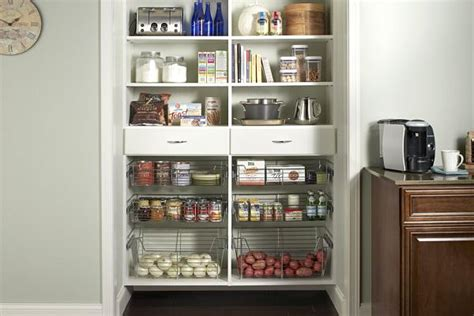 kitchen pantry storage with metal baskets decoist