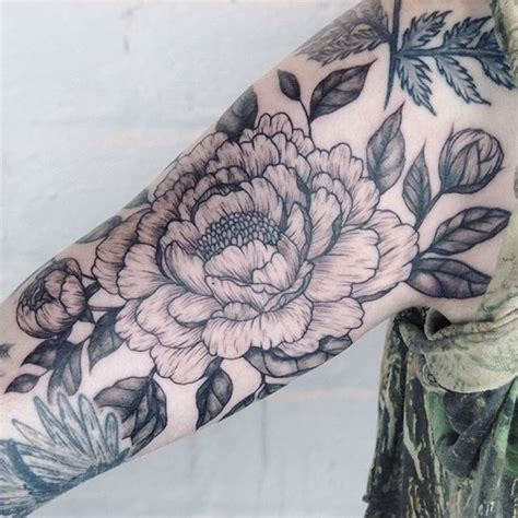 japanese peony tattoo black and grey pics for gt peony tattoo sleeve