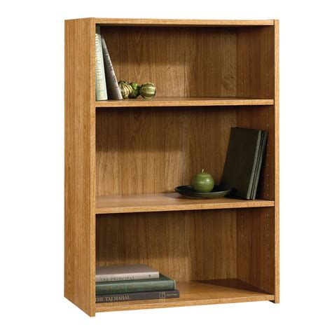 sauder beginnings 3 shelf wood bookcase oak finish