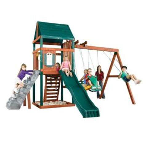 home depot swing set swing n slide playsets brentwood wood complete play set
