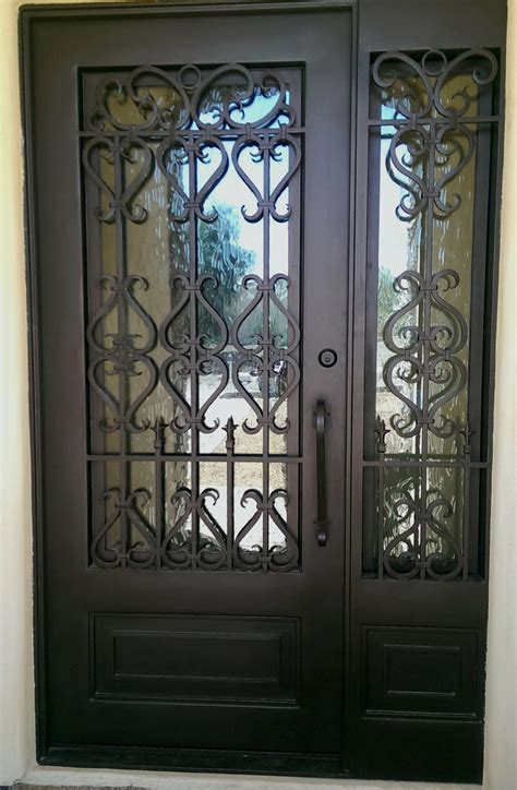 Steel Front Door With Sidelights Wrought Iron Entry Doors With Side Lights Scottsdale Az