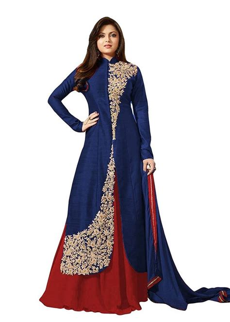 design dress buy navy blue embroidered dupion silk salwar with dupatta