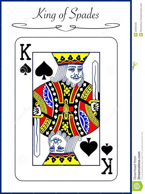king of spades illustration of a playing card stock