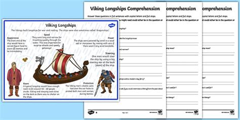 vikings longships differentiated reading comprehension