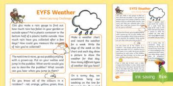 My Early Learning Carrying Family Feelings Wheater eyfs weather home learning challenges reception fs2 weather