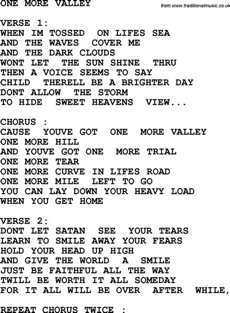 of velly lyrics country southern and bluegrass gospel song one more