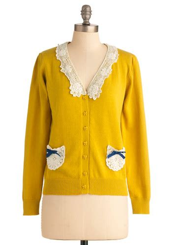 Bow Sleeve Sweater Pink Yellow White Blue not un lace there are bows cardigan mod retro vintage sweaters modcloth