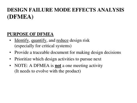 Design Failure Mode Effect Analysis Ppt | ppt design failure mode effects analysis dfmea purpose