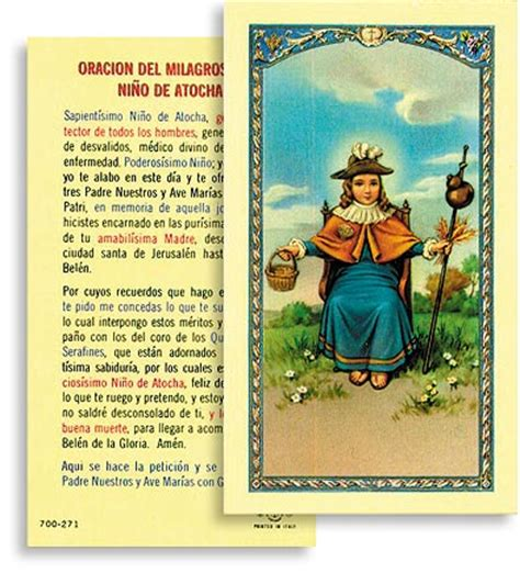 oracion al santo nino de atocha oracion a santo nino de atocha spanish laminated holy
