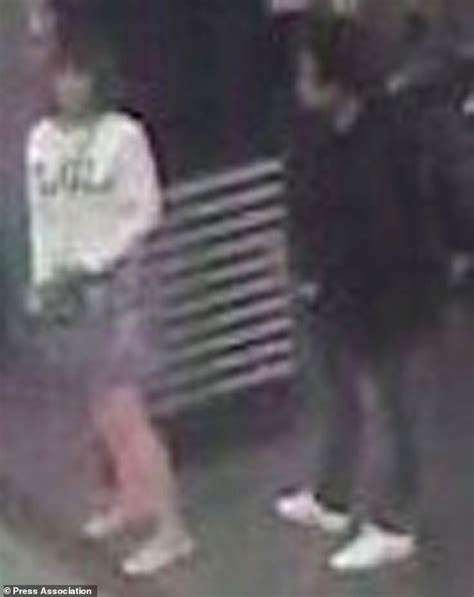 CCTV footage shows a woman, left, who police say was arrested in
