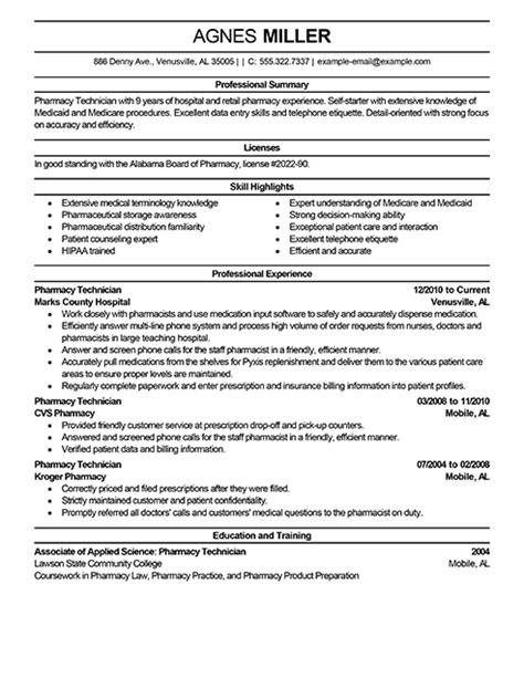 pharmacy tech resume lifespanlearn info