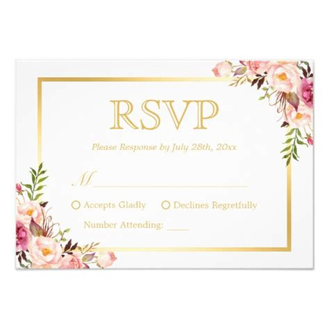 wedding response cards chic gold pink floral wedding rsvp reply card zazzle