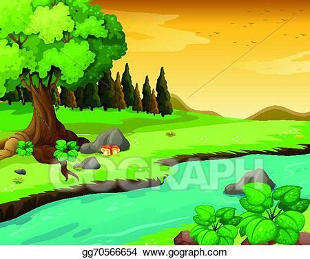 vector stock the flowing river at the forest. clipart