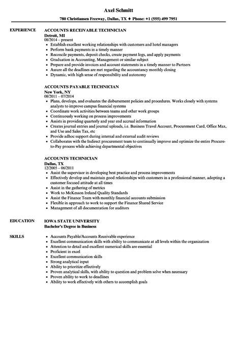 accounts technician resume sles velvet