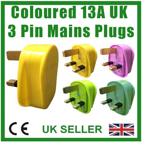 coloured 3 pin plugs coloured 13a uk 3 pin mains 13 bs1363 bsi