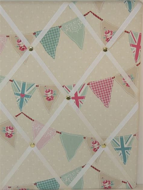 shabby chic bunting in duck egg and pink fabric memo pin