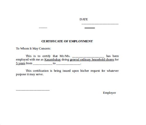 employment certification letter doc word certificate template 11 free documents in word