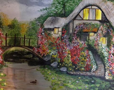 Country Cottage Paintings country cottage retreat painting by