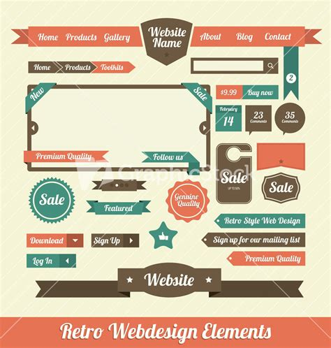 web design layout elements retro web design elements stock image