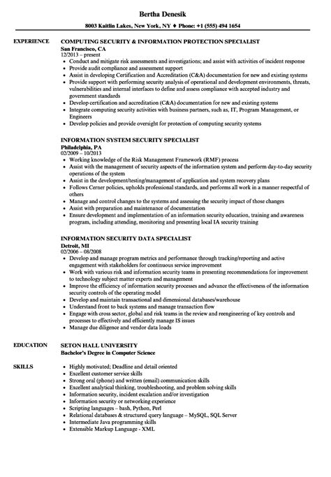 Specialist Resume by Security Information Specialist Resume Sles Velvet