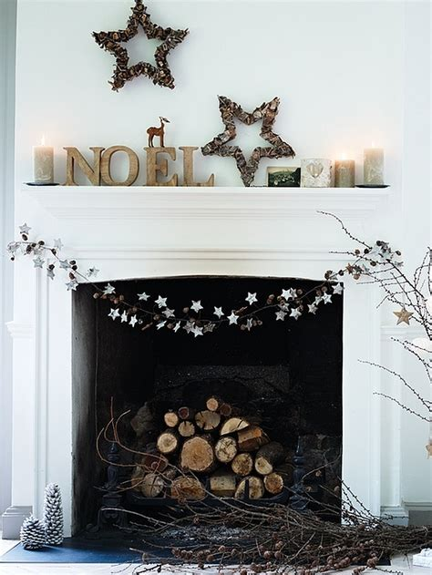 minimalist christmas decor idea for fireplace mantel decoist