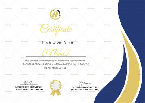 shooting certificate templates shooting completion certificate design template