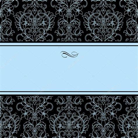 damask pattern frame vector dotted damask pattern and blue frame stock vector