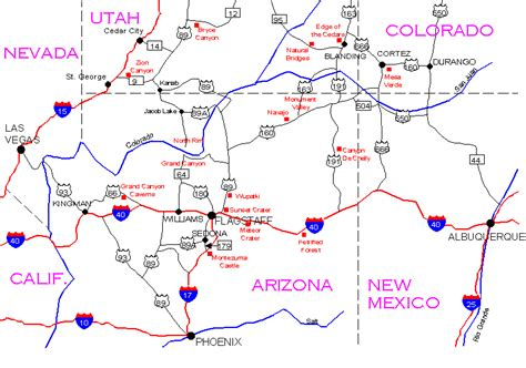 road map four corners usa map of four corners area