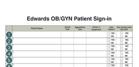 Custom Sign In Log Exles Ob Gyn Office Schedule Template