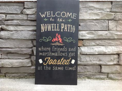 personalized patio signs large welcome to the patio custom sign bonfire cfire