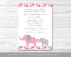 pink and gray polka dot elephant printable baby shower invitation editable pdf ebay