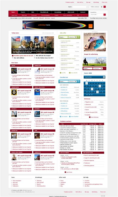 layout web portal media web site layout portal by onedesigner on deviantart
