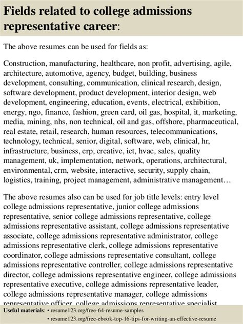 Admissions Representative Sle Resume by Top 8 College Admissions Representative Resume Sles