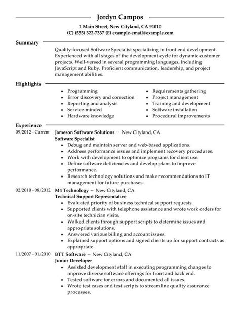 program specialist sle resume recruiting assistant