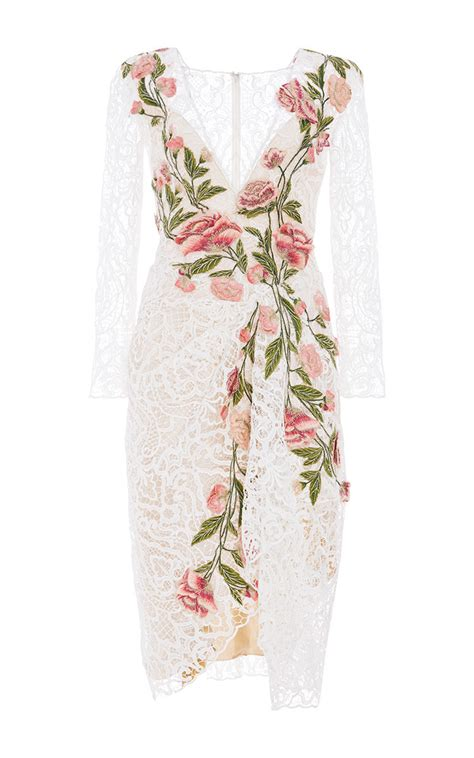floral applique lyst marchesa floral applique lace dress in