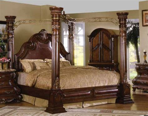California King Canopy Bedroom Set by Caledonian Traditional Brown Cherry California King