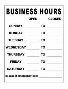 Business Hours Sign Template by Business Hours Sign Template Free Images