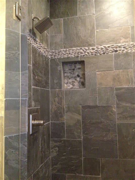 natural slate bathroom tiles natural slate tile with pebble stone border installed by