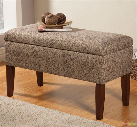 grey patterned bench tan grey fabric upholstery leaf pattern storage bench