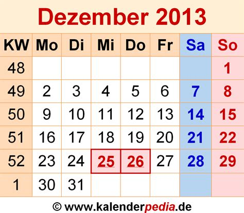 Calendar December 2013 Kalender Dezember 2013 Als Excel Vorlagen