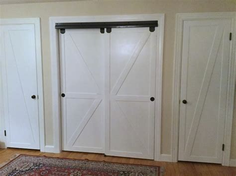 Faux Barn Door Sliding Bypass Closet Doors How To Make Bypass Closet Doors Into Sliding Faux Barn Doors