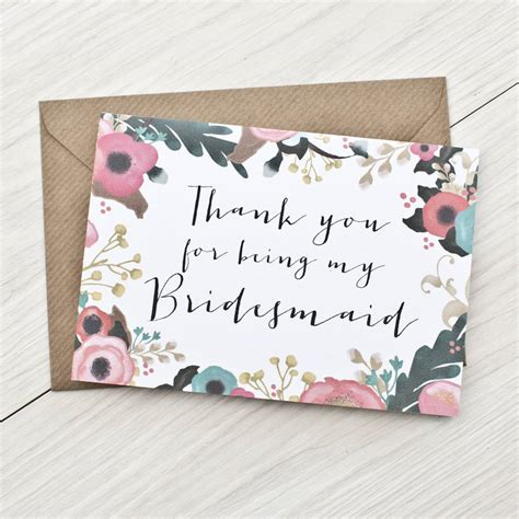 thank you for being my bridesmaid card template bridesmaid thank you card by here s to us