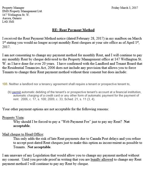 rent payment method letter march wellington towers