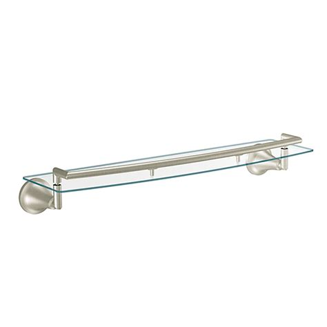 brushed nickel glass bathroom shelf moen icon brushed nickel glass shelf the home depot canada