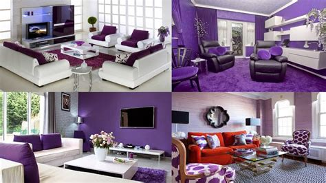 contoh gambar desain dekorasi ruang tamu nuansa ungu