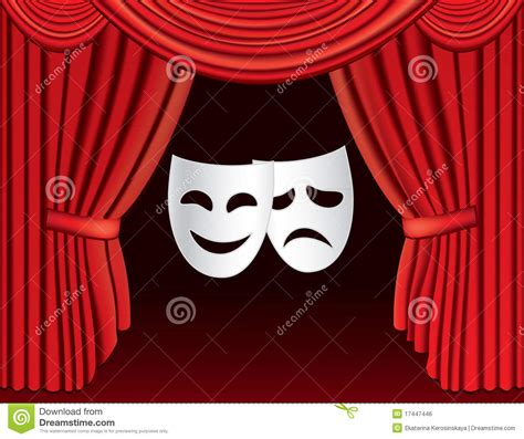 Theatrical Curtains by Red Theatre Curtains With Masks Royalty Free Stock Image
