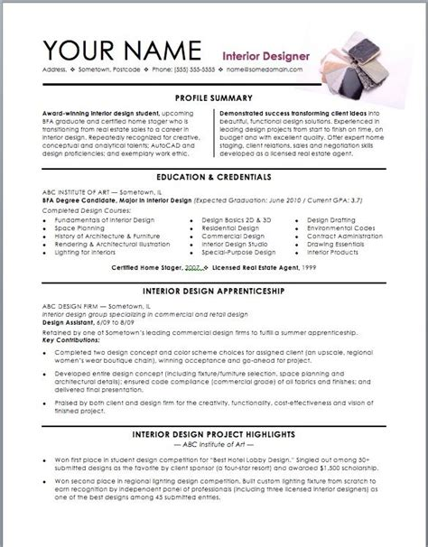Example Resume Template Layout by Assistant Interior Design Intern Resume Template