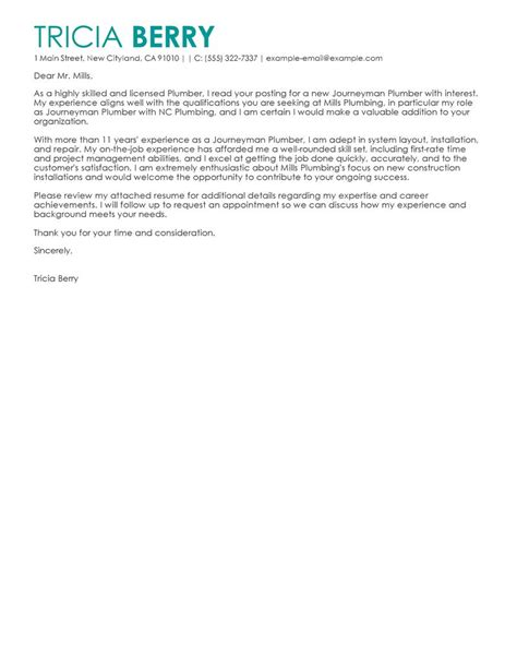 Hvac Apprentice Cover Letter by Journeymen Plumbers Cover Letter Exles Construction Cover Letter Sles Livecareer